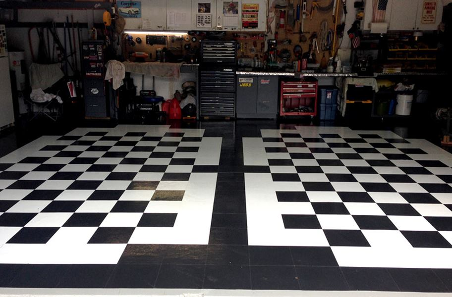 Black White Self Adhesive Vinyl Tile Low Cost Flooring