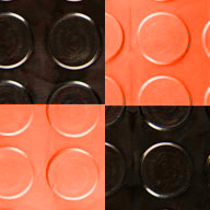 Black/Harley Orange Coin Nitro Tile - Motorcycle Mats
