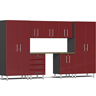 Ruby Red Metallic UG22082RUlti-MATE Garage 2.0 8-PC Kit w/ Bamboo Worktop