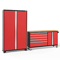 Red / Bamboo 56215NewAge Bold Series 2-PC Cabinet Set