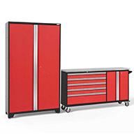 Red / Steel 56216NewAge Bold Series 2-PC Cabinet Set