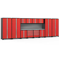 Red / Steel 58749NewAge Pro Series 14-PC Cabinet Set