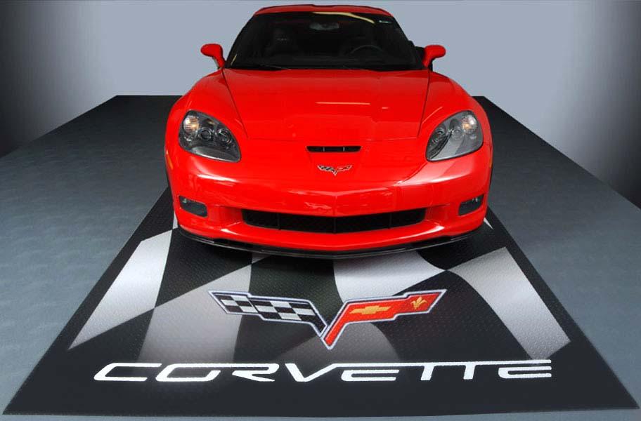 Gm Parking Pads Corvette And Camaro Logo Garage Floor Mats